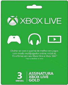 Cartão XBOX Live Gold - Assinatura 3 meses - Microsoft
