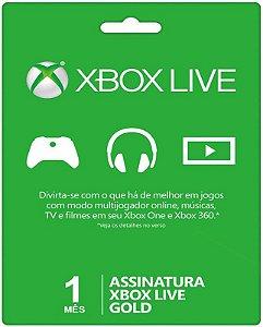 Cartão XBOX Live Gold - Assinatura 1 mes - Microsoft