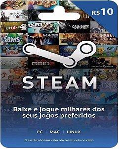 Cartão Pré-Pago R$10 Reais - Steam
