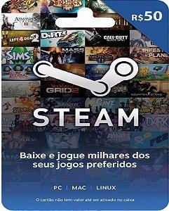Cartão Pré-Pago R$50 Reais - Steam