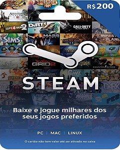 Cartão Pré-Pago R$200 Reais - Steam