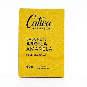 Sabonete Argila Amarela Pele Delicada, 60g, Cativa Natureza