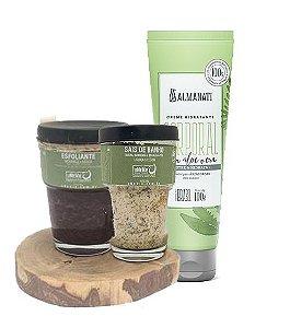 Kit pele lisinha natural: hidratante corporal + esfoliante + sais para banho