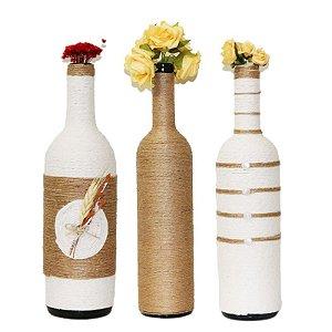 Trio Palha: 3 garrafas decoradas grandes