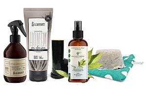 Kit For Men #1: Shampoo + Pós Barba +Desodorante Spray + Sabão para Barbear + Spray Aromaterapêutico para Criatividade e Foco