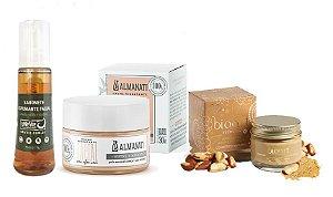 Kit tratamento facial orgânico: sabonete facial, creme hidratante antissinais + máscara iluminadora