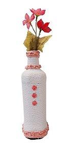 Garrafa Decorada Branca e Rosa, Planeta Vegs
