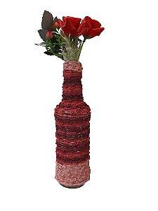 Garrafa Decorada Pequena Nó Vermelha e Rosa