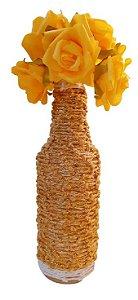 Garrafa Decorada Pequena Nó Dourado brilhante