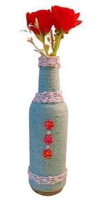 Garrafa decorada pequena Azul e branca