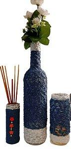 Trio Jeans: 1 pote decorado (difusor de ambiente), 1 garrafa decora + 1 pote decorado (porta-vela)
