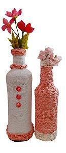 Duo Garrafas Decoradas Rosa e Branco Nó