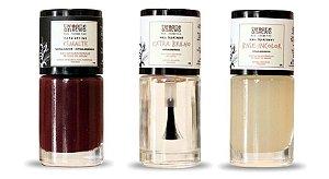 Kit Brandy Wine: Esmalte Hipoalergênico Vegano Fortalecedor Brandy Wine+ Base Incolor + Extra Brilho Twoone Onetwo