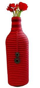 Garrafa Decorada Grande Vermelha Listras