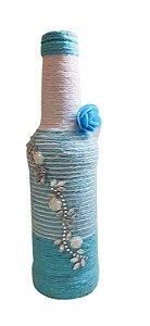 Garrafa Decorada Pequena Azul listras