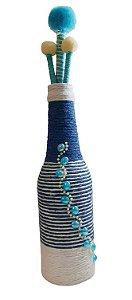 Garrafa Decorada Pequena Azul com 3 varetas decorativas