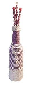 Garrafa Decorada Pequena Lilás com 3 varetas decorativas
