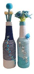 Duo Garrafas Decoradas Pequenas Azul com Varetas