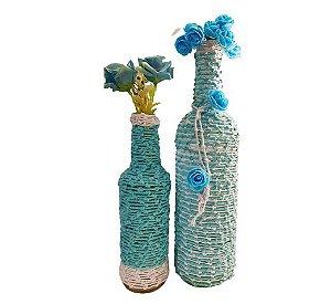 Duo Garrafas Decoradas Azul e Branca Nó
