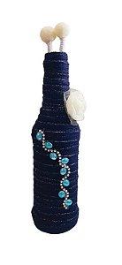 Garrafa Decorada Pequena Azul Jeans com 2 varetas decorativas