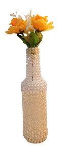 Garrafa Decorada Pequena Pérola Branca e Champanhe