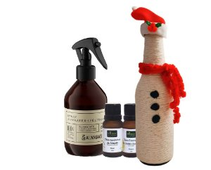 Kit Aromaterapia + Garrafa Natalina Grátis: Spray Aromaterapêutico Criatividade + Óleo Essencial Alecrim + Óleo Essencial Limão Siciliano