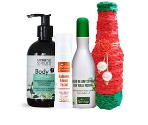 Kit Pele Lacradora + Garrafa Decorada: Hidratante de Banho + Sérum Facial + Loção de limpeza facial