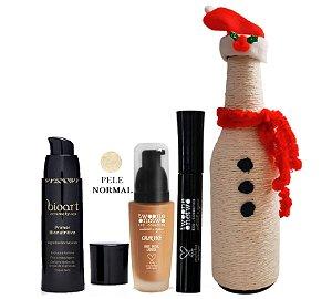 Kit Makes Tratamento: 1 Primer Pele Normal Bioart + 1 Base 04 Warm Beige + 1 Máscara de Cílios Twoone Onetwo + Garrafa Natalina Grátis