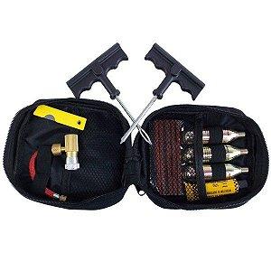 kit Para Consertos e Reparos De Pneu Sem Câmara Para Motos Com 3 Cilindros de Co2