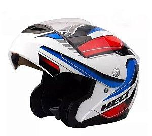 Capacete Helt Modelo Rider Branco com Azul e vermelho Escamoteável Robocop