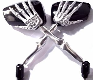 Par de Espelhos Retrovisores Allen Modelo Skull Cromado Para motos Custom aplicação Universal