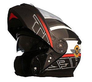 Capacete Helt Modelo Hippo Glass Spirit preto fosco Escamoteável Robocop