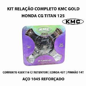 Kit Relação transmissão KMC com retentor Honda Titan/fan 125 00/08