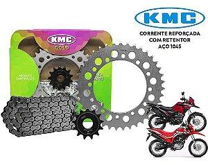 Kit Relação Transmissão Honda Bross 160/xre 190 Kmc Gold Com Retentor