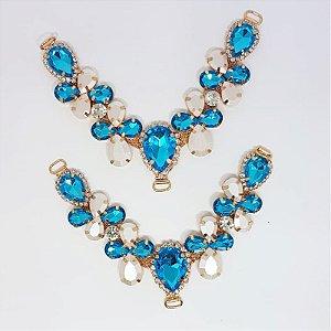 Cabedal V - Joia Chaton Mesclado (Azul Oceano)