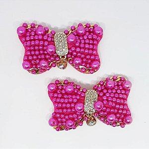 Piercing Feltro - Laço Pérola Strass (Pink)