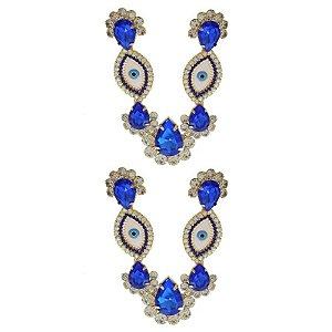Cabedal Folheado V - Olho Grego (Azul Royal)
