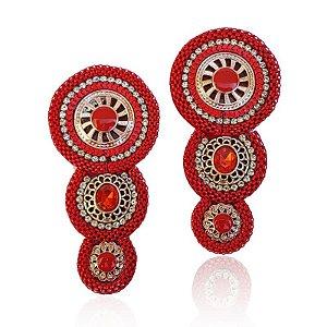 Cabedal I - Tecido Mandala (vermelho)