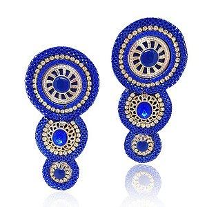 Cabedal I - Tecido 3 Mandalas (Azul)