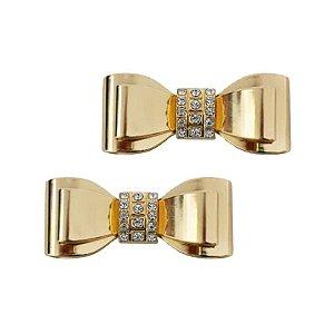 Piercing Laço Metal Strass (Dourado)