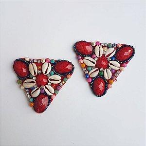 Cabedal Tecido - Conchas (Vermelho)