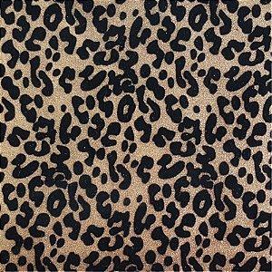 Lonita Tecido - Onça Flocada (Dourado)