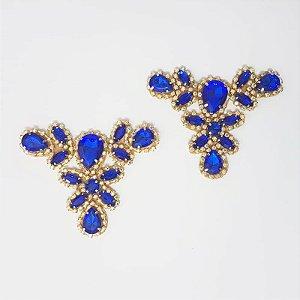 Cabedal T - Tecido Chaton Strass (Azul)