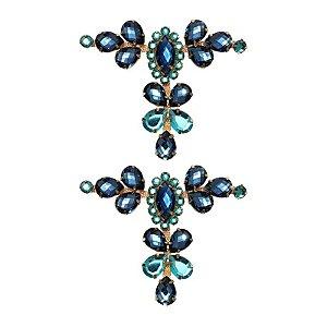 Cabedal Luxo T - Camafeu Strass Mesclado (Azul Marinho e Azul Água Doce)