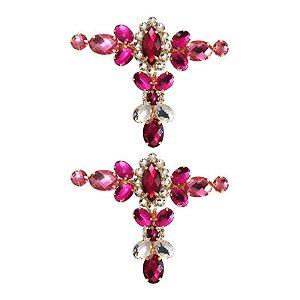 Cabedal Luxo T - Camafeu Strass Mesclado (Pink e Rosa)