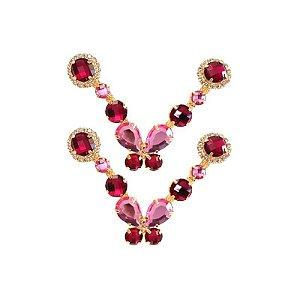 Cabedal Luxo V - Brincadeira de Borboleta Mesclado (Pink e Rosa)