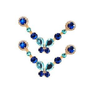 Cabedal Luxo V - Brincadeira de Borboleta Mesclado (Azul Royal)