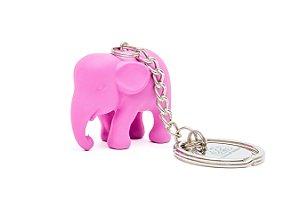 Chaveiro Elefante Rosa de Silicone