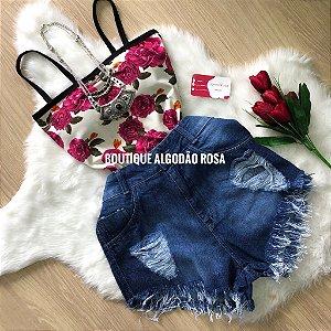 Body reto Flores Rosa