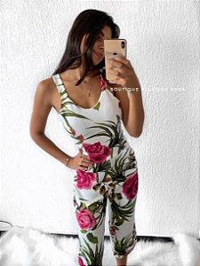 Macacão Pantacourt flor Rosa